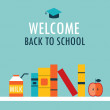 Welcome back to school background Book shelf with books milk and apple — Stock Vector #51069437