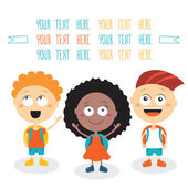 Group of happy children smiling on white background Back to school theme — Stock Vector