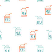 Seamless background pattern with milk carton Cute sketch style — Stock Vector