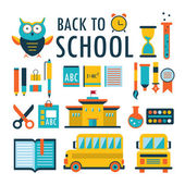 Back to school Flat design icons set isolated on white Part 2 — Stock Vector