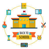 Back to school background with study theme icons — Stock Vector