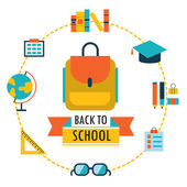Back to school background with study theme icons Backpack glasses books etc — Stock Vector