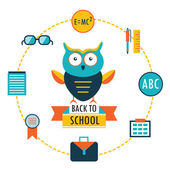 Back to school background with study theme icons Lovely cartoon owl — Stock Vector