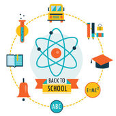 A fondo la escuela con los iconos de tema de estudio — Vector de stock