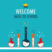 Welcome back to school background Chemistry theme — Stock Vector