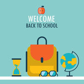 Welcome back to school background Backpack globe glasses and hourglass — Stock Vector