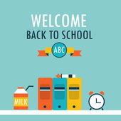 Welcome back to school background Books clock and milk — Stock Vector