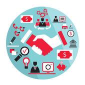 Flat business elements handshake partnership concept etc — Vector de stock