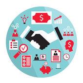 Flat business elements handshake partnership concept etc — Vettoriale Stock