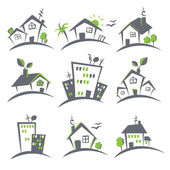 Houses icons set — Vecteur