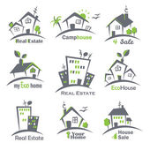 Houses icons set — Stock Vector
