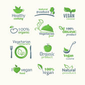 Vector icons of organic natural food, vegan and vegatarian signs — Stock Vector