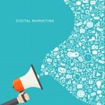 Digital marketing flat illustration. Hand holding megaphone — Stock Vector #48946535
