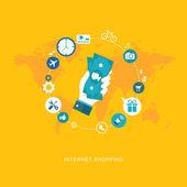 Online shopping flat illiustration — Stock Vector
