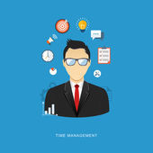 Business management concept flat illustration. Office man with i — Vettoriale Stock