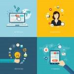 Flat internet banners set. Online support, creative idea, e-comm — Vetorial Stock  #51696955