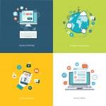 Flat internet technologies banners set. Social media, internet n — Stock Vector #51697115