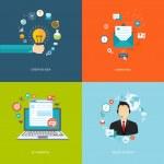 Flat internet banners set. Creative idea, marketing, e-commerce, — Vetorial Stock