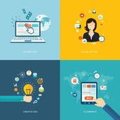 Conjunto plana banners de internet. soporte en línea, idea creativa, e-comm — Vector de stock
