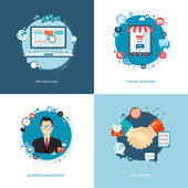 Flat internet banners set. Team management, online shopping, par — Vector de stock