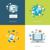 Flat internet technologies banners set. Social media, internet n — Stock Vector