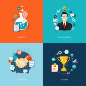 Flat banners set. Research, team management, partnership, succes — Stock Vector