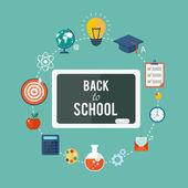 Voltar à ilustração plana de escola — Vetor de Stock