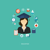 Student flat illustration with icons — Vector de stock