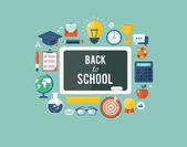 Back to school flat illustration — Stock Vector