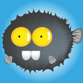 Catoon blowfish funny — Stock Vector