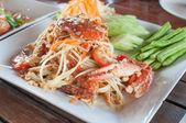 Papaya salad with horse crab — Stock Photo
