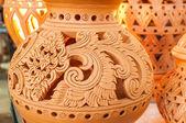 Beautiful Thai style designs on pottery — Stok fotoğraf
