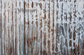 Rusted galvanized iron plate texture with white stain on wall — Stock Photo