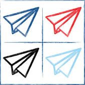 Hand drawn paper planes — Stock Vector