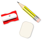 Pencil, sharpener and eraser — Stock Photo