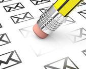 Erasing spam mails — Stock Photo