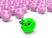The green piggy bank — Stock Photo