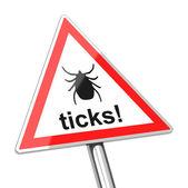 Ticks warning sign — Stock Photo