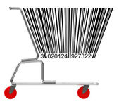 Shopping cart with barcode — Stock Photo