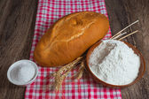 Rye bread, salt and flour — Stock Photo