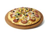 Turkish Bologna Sausage Pizza - Sucuklu Pizza — Stock Photo