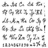 Vector mão real alfabeto caligráfico — Vetorial Stock