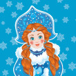 Snow Maiden on a blue background with white snowflakes. — Stock Vector #49233367