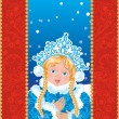 Snow Maiden on a blue background with white snowflakes. — Stock Vector #49233393