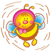 Little bee in a scarf on a white background. — Stock Vector