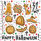 Halloween cookies. Symbols of Halloween. Set. Vector. — Stockvector