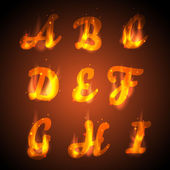 Fire alphabet. Vector. — Stock Vector