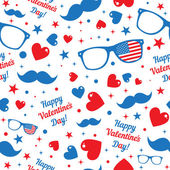 Valentines Day hipsters symbols with the American flag. Seamless pattern. — Stock Vector