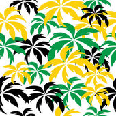 Palm trees in Jamaica colors. Seamless background. — Stockvektor