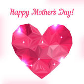 Happy Mother day. Love symbol. Pink origami heart on white. — Stok Vektör